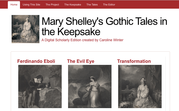 Homepage of Mary Shelley's Gothic Tales in The Keepsake